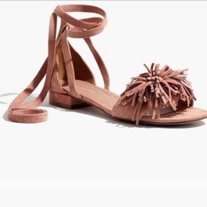 Madewell Kaia ankle wrap Pom Pom sandals. Size 6.5